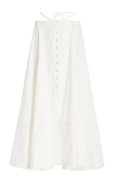 Dani Button-Front Cotton Midi Skirt