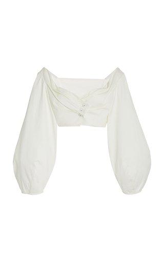 Mavis Puff-Sleeve Cotton Crop Top