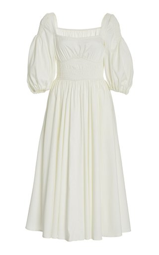 Finnie Puff-Sleeve Smocked Cotton Midi Dress