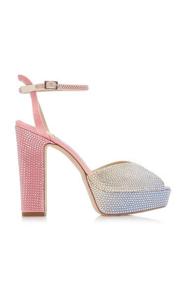 Sacaria Crystal-Embellished Satin Platform Sandals