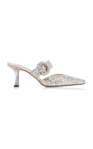Marta Crystal-Embellished Glittered Mules