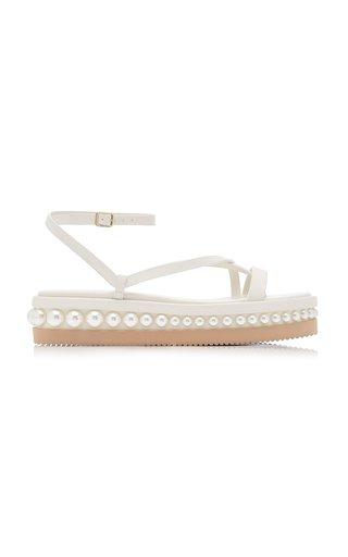 Pine Pearl-Embellished Leather Platform Sandals