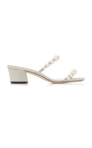 Amara Pearl-Embellished Metallic Suede Sandals