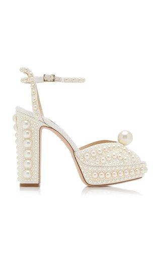 Sacaria Pearl-Embellished Satin Platform Sandals