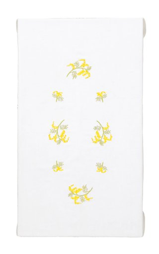 Rectangular Embroidered Mimosa Flowers Tablecloth 180x220 and 8 Napkins