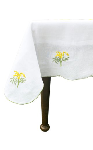 Round Embroidered Mimosa Flowers Tablecloth and 8 Napkins