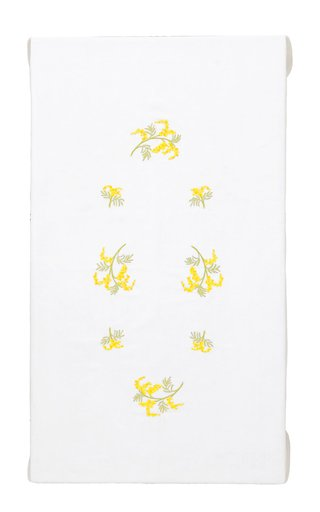 Rectangular Embroidered Mimosa Flowers Tablecloth 180x300 and 12 Napkins