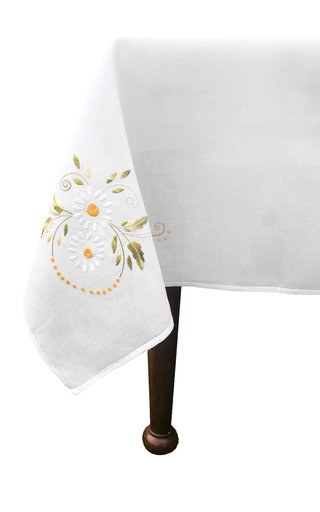 Round Embroidered Daisy Flowers Tablecloth and 8 Napkins