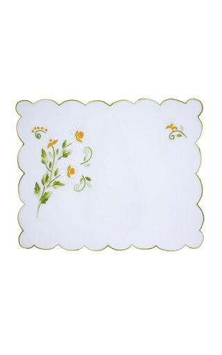 Rectangular Embroidered Daisy Flowers Placemat with Napkin
