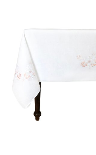 Rectangular Embroidered Peach Flowers Tablecloth 180x300 with 12 Napkins
