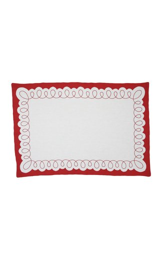 Embroidered Rectangular Placemat with Napkin