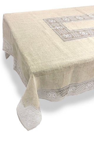 Rectangular Bissone Sand Tablecloth 180x270 with 8 Napkins