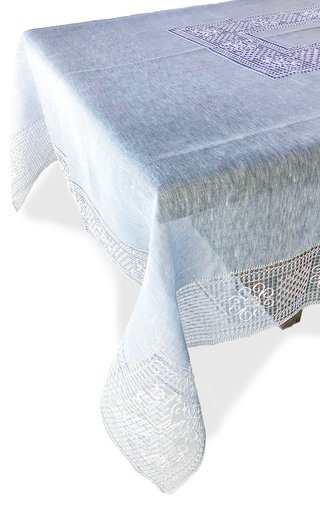 Rectangular Bissone Blue Tablecloth 180x320 with 12 Napkins