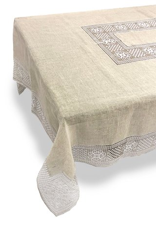 Rectangular Bissone Sand Tablecloth 180x320 with 12 Napkins