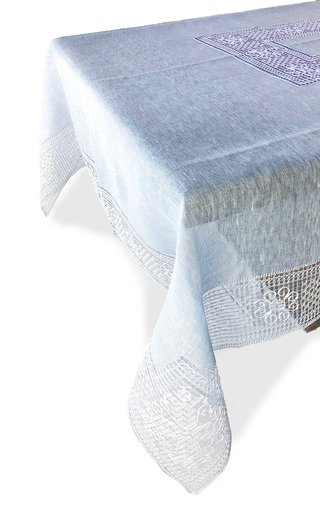 Rectangular Bissone Blue Tablecloth 180x360 with 12 Napkins