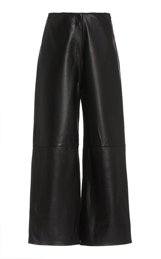 Cropped Leather Wide-Leg Trousers