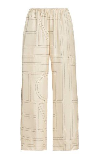 Monogrammed Silk Wide-Leg PJ Bottoms