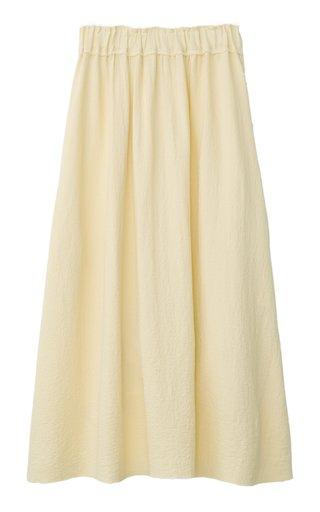 Raw-Edge Crepe Maxi Skirt