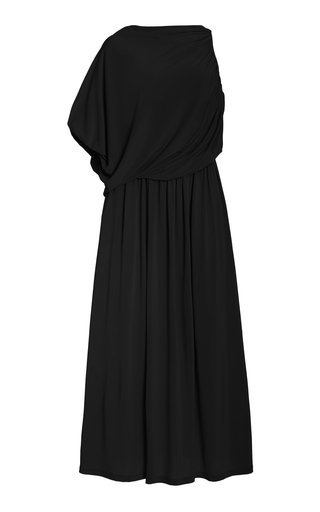 Asymmetric Jersey Midi Dress