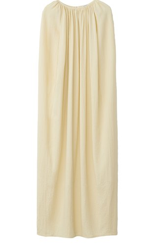 Gathered Crepe Maxi Cape Dress