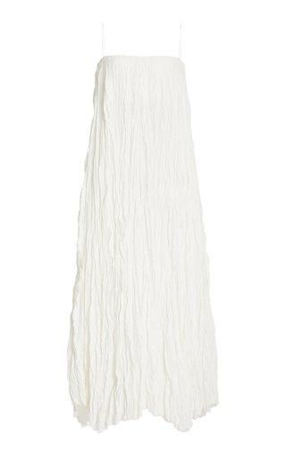 Sleeveless Crinkled Silk Maxi Dress