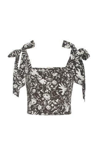 Helena Printed Cotton Poplin Cropped Top