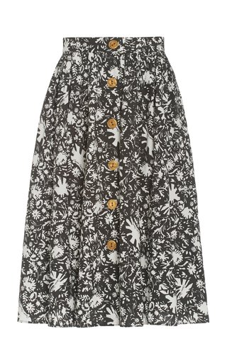 Marge Printed Cotton Poplin Midi Skirt