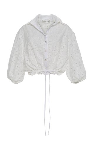 Hutton Cotton Broderie Anglais Cropped Top