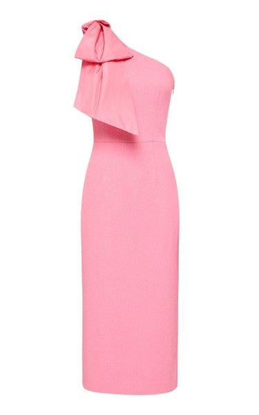 Montez One-Shoulder Crepe Midi Dress