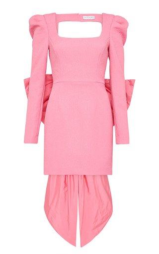 Montez Open-Back Bow Crepe Mini Dress