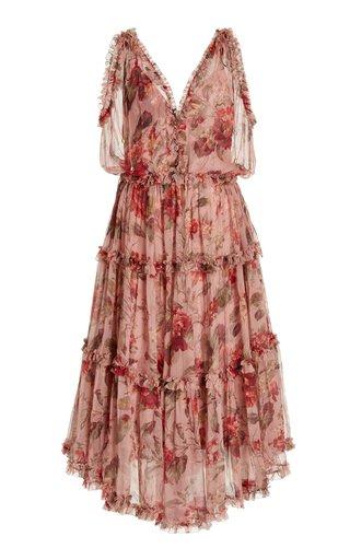 Cassia Ruffled Floral Silk Midi Dress