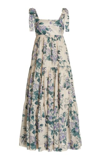 Cassia Tiered Floral Cotton Maxi Dress