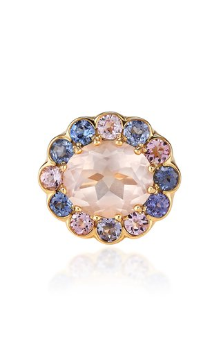 Candy 18K Yellow Gold Quartz, Sapphire Ring