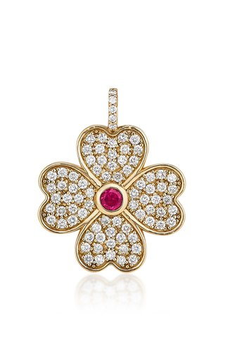 Heart Clover 18K Yellow Gold Diamond, Tourmaline Charm