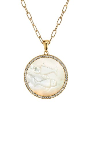 Pisces 18K Yellow Gold Mother of Pearl, Diamond Necklace