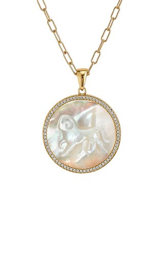 Aries 18K Yellow Gold Mother of Pearl, Diamond Necklace