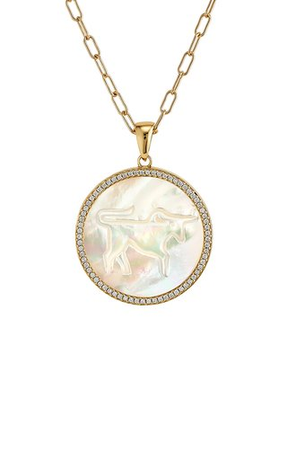 Taurus 18K Yellow Gold Mother of Pearl, Diamond Necklace