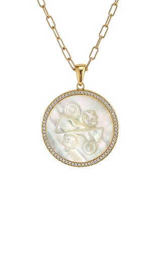 Gemini 18K Yellow Gold Mother of Pearl, Diamond Necklace