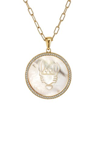 Cancer 18K Yellow Gold Mother of Pearl, Diamond Necklace