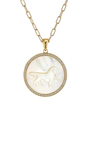 Leo 18K Yellow Gold Mother of Pearl, Diamond Necklace