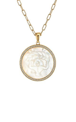 Virgo 18K Yellow Gold Mother of Pearl, Diamond Necklace