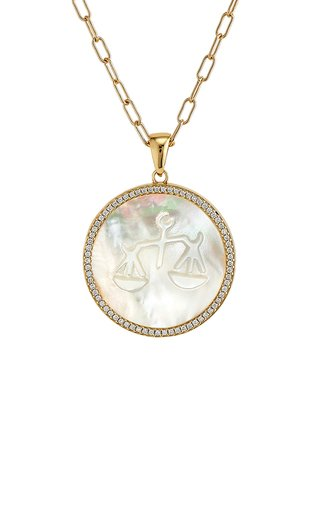 Libra 18K Yellow Gold Mother of Pearl, Diamond Necklace