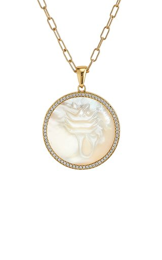 Scorpio 18K Yellow Gold Mother of Pearl, Diamond Necklace