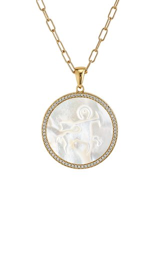 Sagittarius 18K Yellow Gold Mother of Pearl, Diamond Necklace