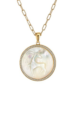 Capricorn 18K Yellow Gold Mother of Pearl, Diamond Necklace