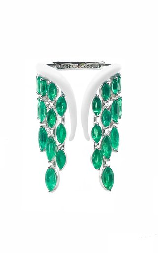 18K White Gold Emerald Wings