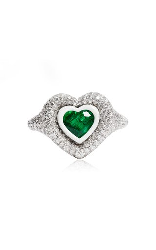 18K White Gold Manaal 2.0 Emerald Pinky