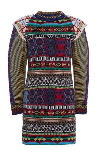 Jacquard Wool-Blend Mini Dress