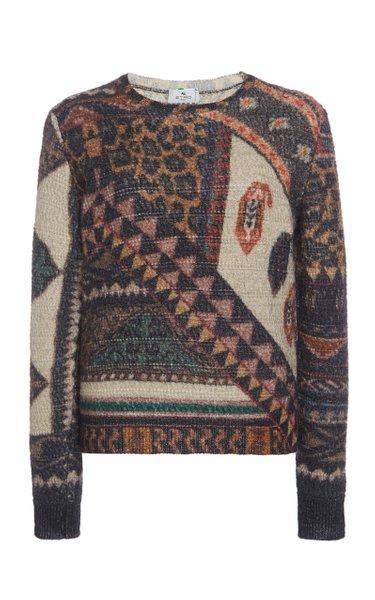 Printed Wool-Alpaca Knit Sweater
