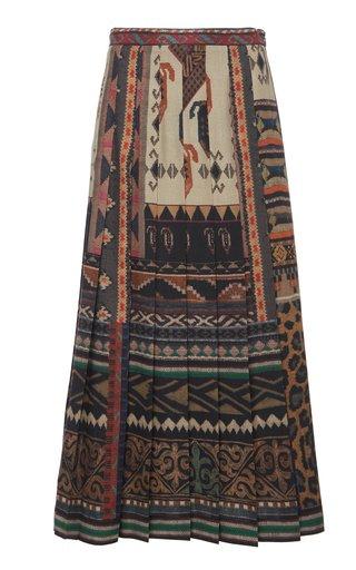 Pleated Wool-Silk Midi Skirt